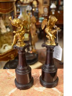 19th century pair of gilt bronze figures on marble