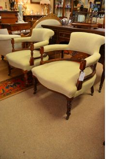 Pair of edwardian rosewood armchairs