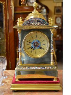 Victorian brass & enamel clock on plinth