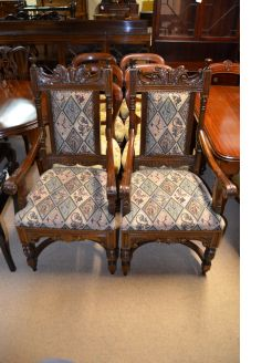 pair of victorian style armchairs