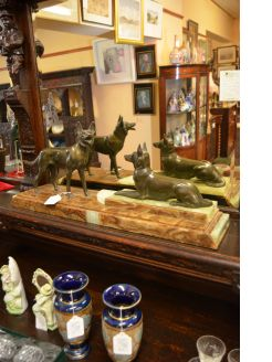 Art deco bronze dog group on marble plinth