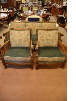 A mahogany three piece berger suite