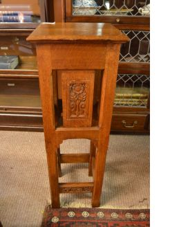 Carved oak plant stand