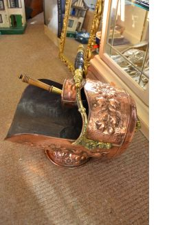 Copper & brass coal scuttle with shovel