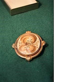 Gold cased brooch