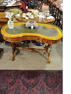 Victorian satinwood desk with brass gallery & leather top