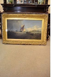 Large victorian oil on canvas (seascape) in gilt frame