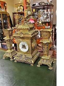 three piece brass clock set