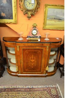 Victorian burr walnut credenza cabinet