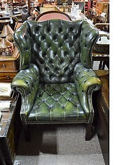 Leather , wing back armchair