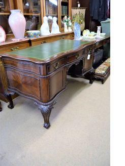 Mahogany partners desk , green leather top