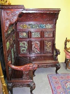 Chinese carved & wood and lacqured corner seat