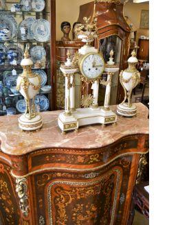 Three piece marble clock set