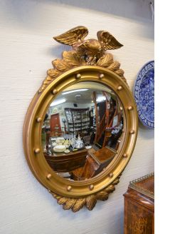 Gilt framed convex mirror