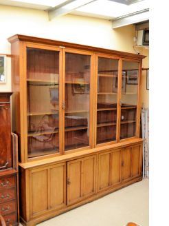Four door oak bookcase