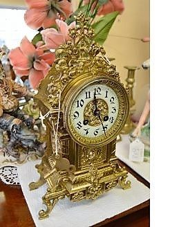 Victorian brass mantle clock