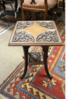 Carved mahogany low table