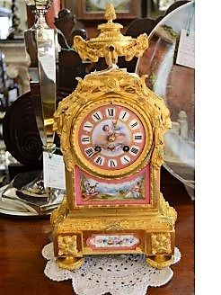 19th century gilt and painted porcelain mantel clock