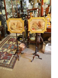 Pair mahogany and giltwood pole-screens
