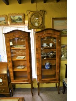 Pair of walnut display cabinets
