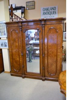 Victorian burr-walnut wardrobe