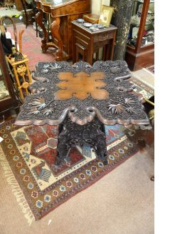 Anglian Indian carved teak table