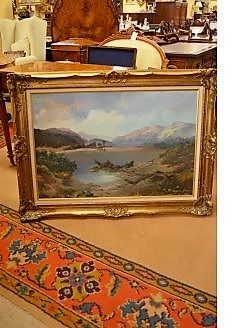 Oil painting in gilt frame , signed