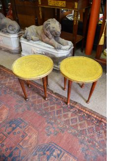 Pair of brass low tables