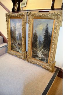 Pair of gilt framed oil paintings signed