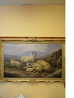 Large gilt framed oil on board , signed