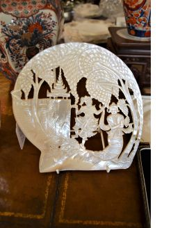 Carved mother of pearl plaque