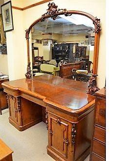 Victorian walnut mirrorback sideboard
