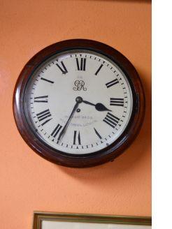 Victorian mahogany cased fusee wall clock