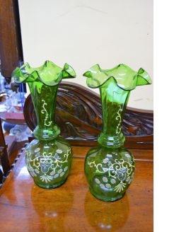 Pair of victorian green glass vases