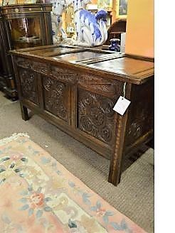 18th century carved Oak coffer / chest