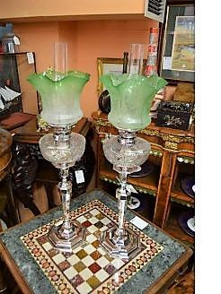 Pair victorian silver plated oil lamps