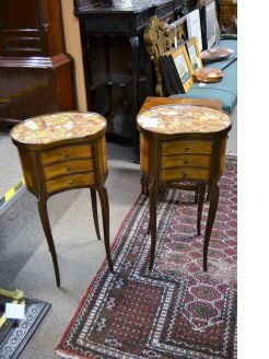 Pair of marble topped pedestals
