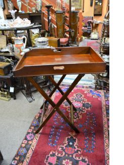 19th century mahogany butlers tray & stand