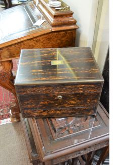 Victorian coromandle wooden dressing box with silver topped bottles