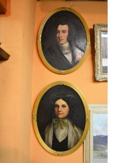 Pair of gilt framed oil portraits