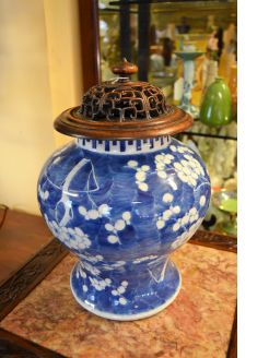 Chinese jar & carved lid