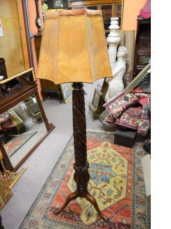 19th century mahogany carved standard lamp