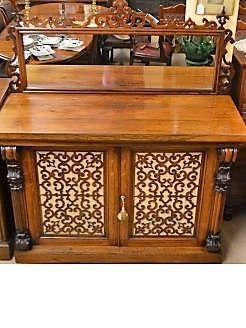 Victorian rosewood sideboard with mirror back.