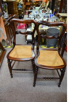 Pair victorian mahogany chairs with wicker seats