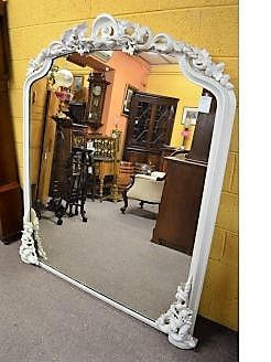 Large victorian painted mirror/ over mantle