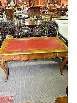 Fine19th century burr walnut writing table with leather top and inlay .