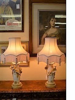 Pair of art nouveau lamps