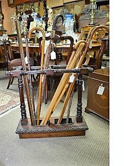 A selection of walking sticks and stands