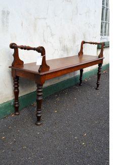 Victorian oak carved window seat