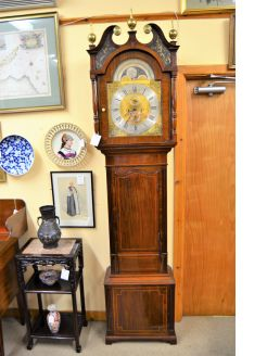 Brass faced mahogany grandfather clock